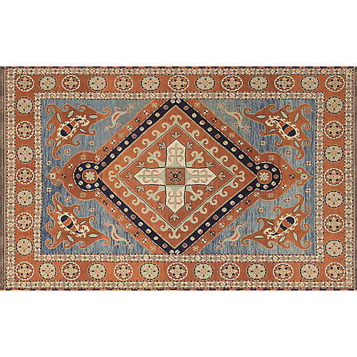 "10'6""x6'8"" Miley Rug, Rust/Blue"
