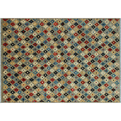 """4'9""""x6'8"""" Baluch Ted Rug, Gray/Red"""