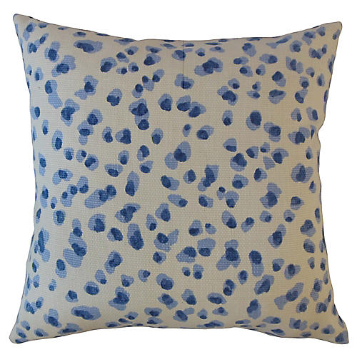 Snow Leopard Pillow, Blue/White