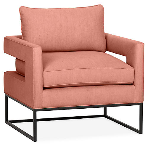Bevin Accent Chair, Rose Linen