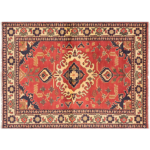 """4'x5'8"""" Finest Kargahi Hand-Knotted Rug, Red"""