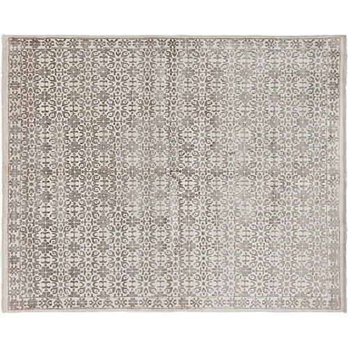 """8'x9'10"""" Jules Oushak Hand-Knotted Rug, Cream"""