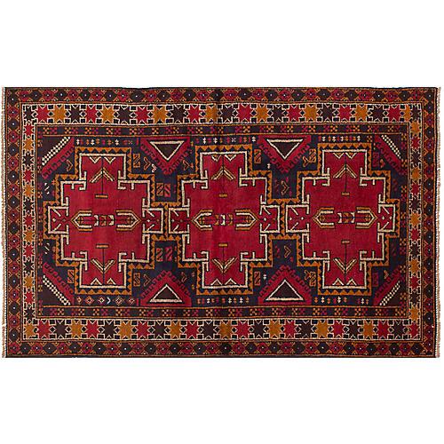 """3'8""""x6'2"""" Kazak Rug, Red/Multi"""