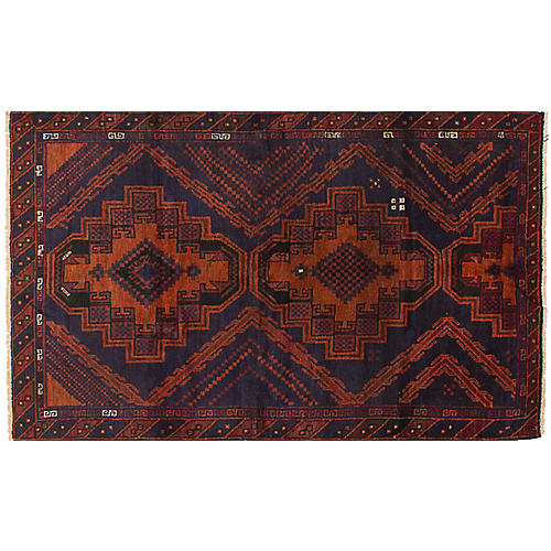 "3'7""x6'1"" Kazak Rug, Copper/Dark Navy"