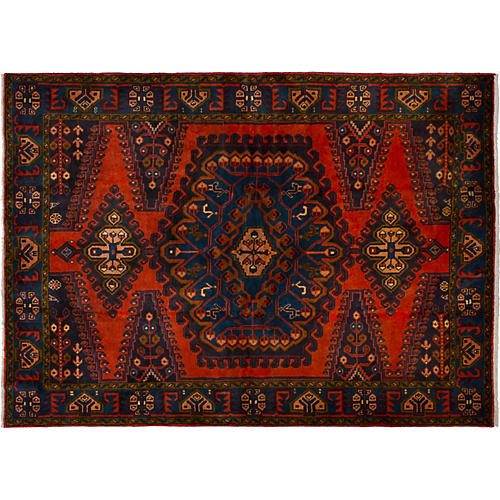"""4'11""""x6'9"""" Wiss Hand-Knotted Rug, Red"""