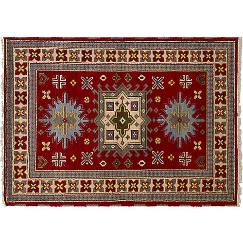 "4'x5'11"" Royal Kazak Rug, Dark Red"