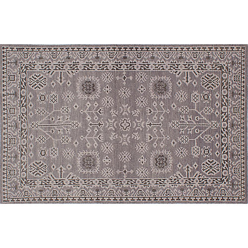"""5'2""""x8'2"""" Eternity Hand-Knotted Rug, Gray"""