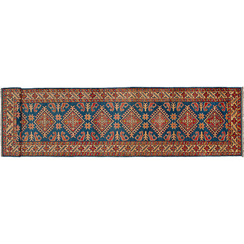 Gazni Hand-Knotted Runner, Blue/Red