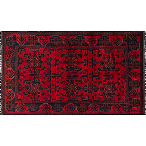 "3'9""x6'6"" Finest Khal Mohammadi Rug, Red/Blue"