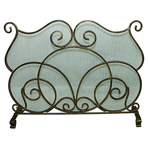 """39"""" Fremont Fireplace Screen, Burnished Gold"""