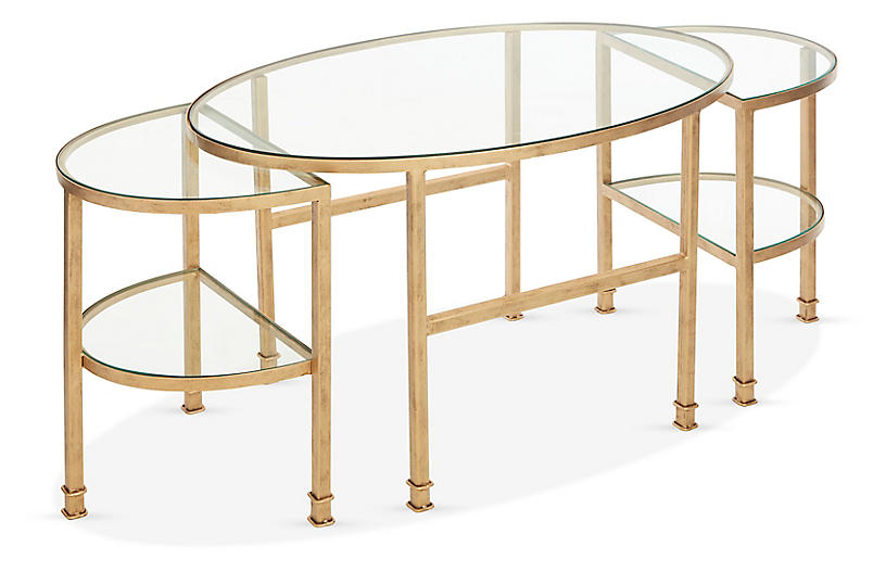 Asst. of 3 Paquet Nesting Coffee Tables, Antiqued Gold