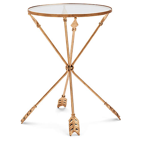 Arrow Side Table, Antiqued Gold