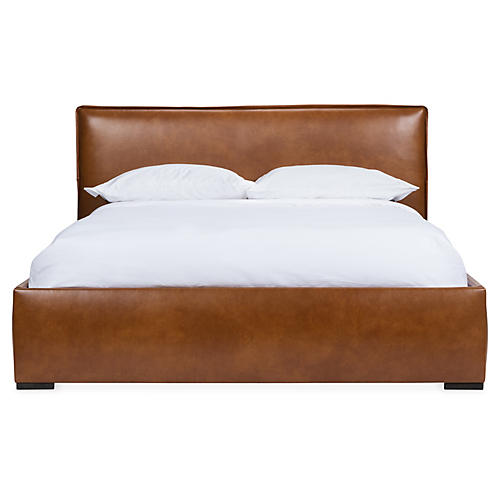Maddox Platform Bed, Caramel Leather