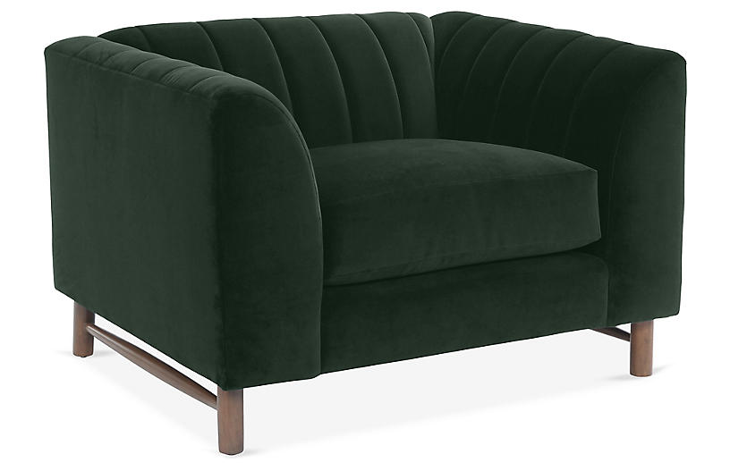 Alden Club Chair, Forest Green Velvet