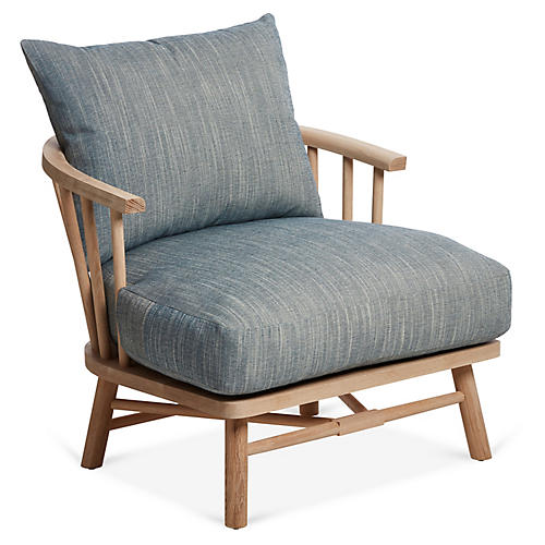 Bauer Accent Chair, Indigo Crypton
