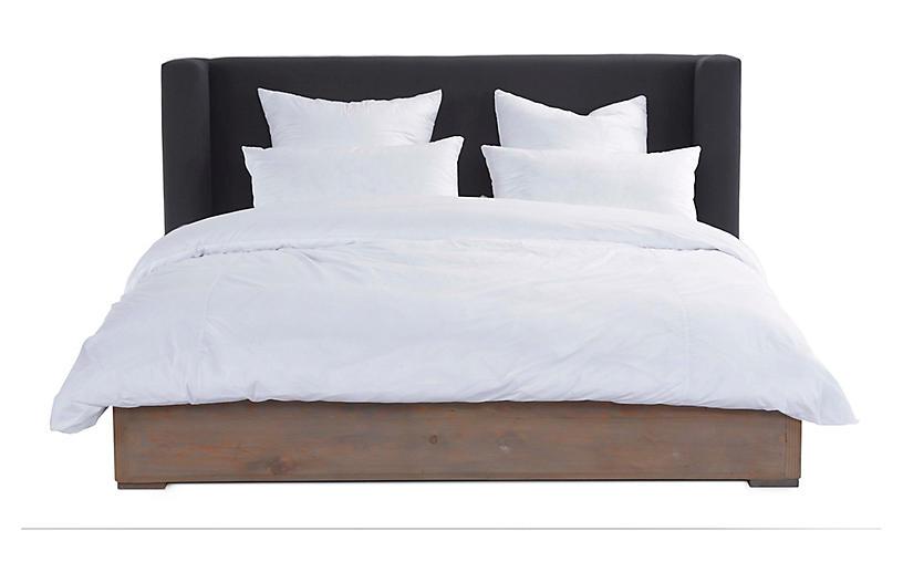 Lang Bed, Dark Gray Linen