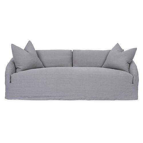Reilly Slipcover Sofa, Light Gray Linen