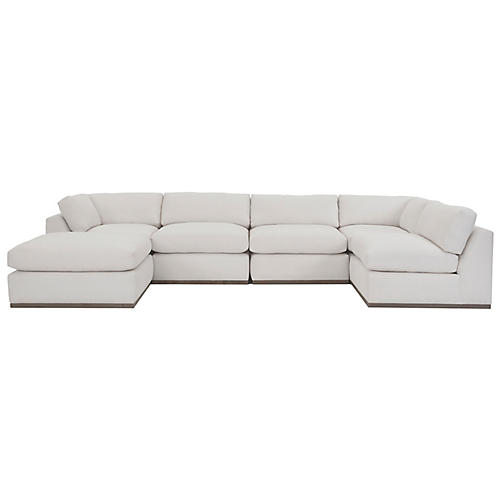 Pratt U-Shaped Sectional, White Crypton