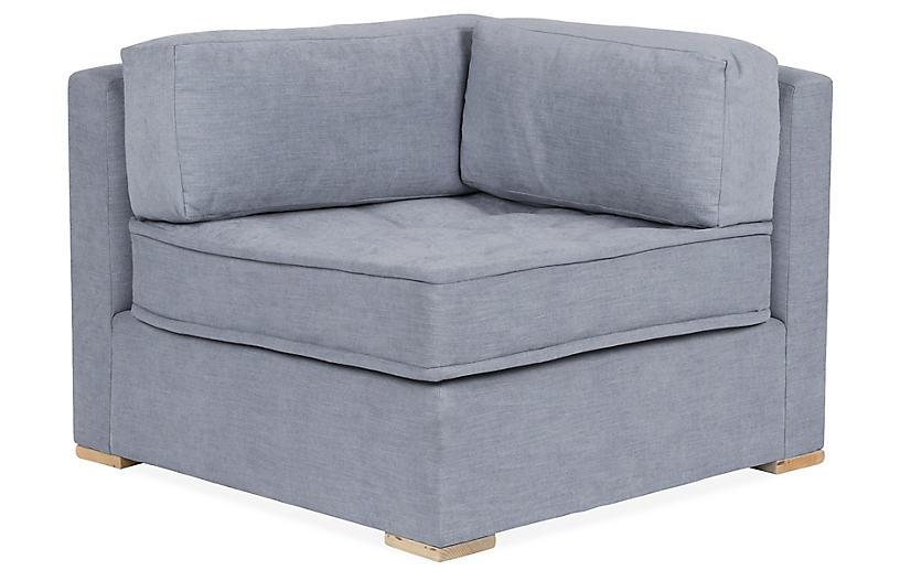 Lane Tufted Corner Chair, Gray Blue