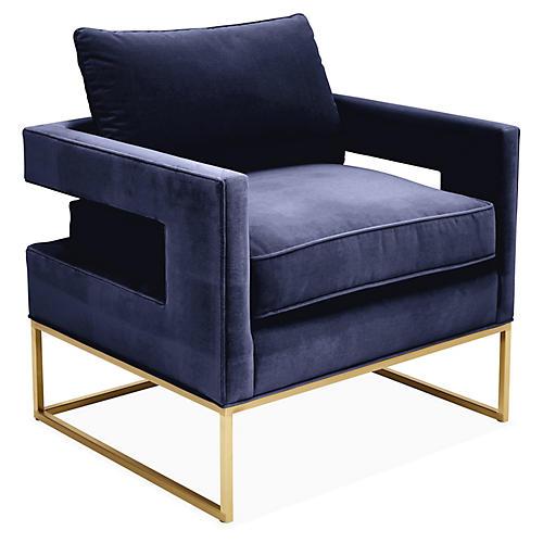 Bevin Accent Chair, Brass/Navy Velvet