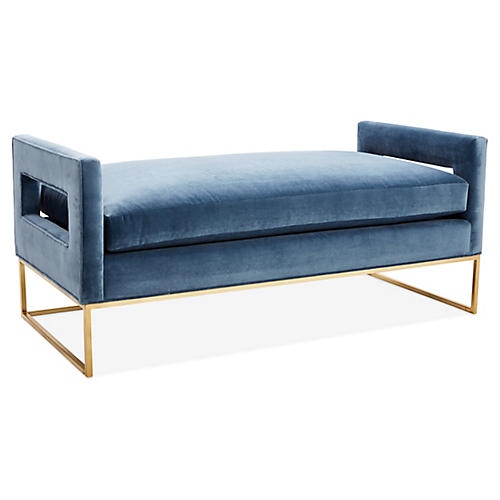 Bevin Daybed, Brass/Harbor Blue Velvet