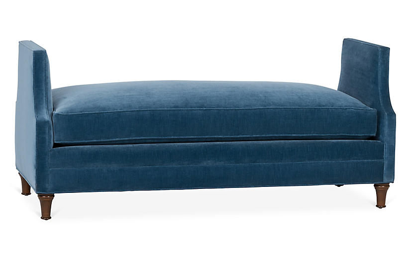 Dumont Bench, Harbor Blue Velvet