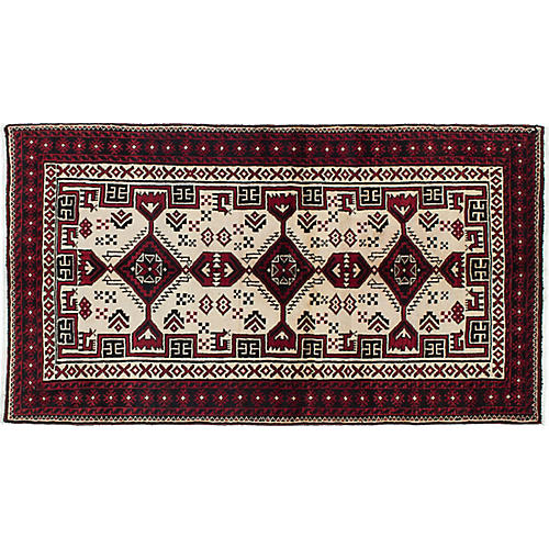 """3'3""""x6' Finest Baluch Rug, Ivory/Red"""