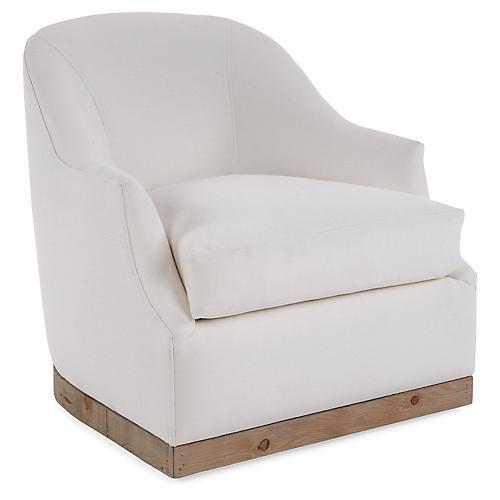 Brooke Swivel Club Chair, Ivory Linen