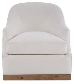Bridget Swivel Club Chair, Ivory Linen