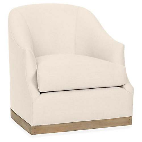 Brooke Swivel Club Chair, Bisque Linen
