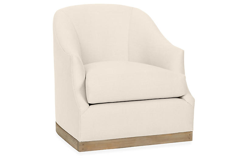 Bridget Swivel Club Chair, Bisque Linen