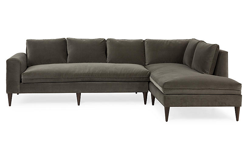 Upton Right-Facing Sectional, Charcoal Velvet