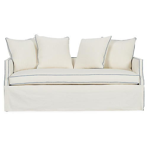 Dumont Trundle Bed, Ivory/Blue Linen