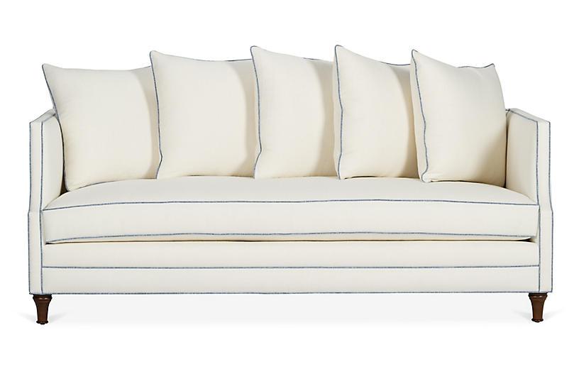 Dumont Sofa, Ivory/Blue Linen