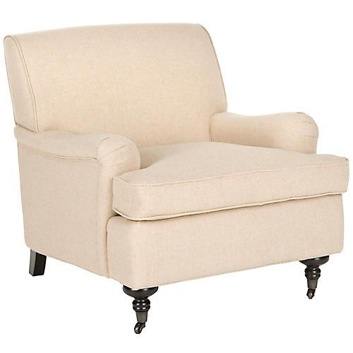 Petite Linen Club Chair, Natural/Hemp
