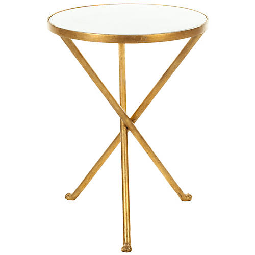 Maddy Granite Side Table, White/Gold