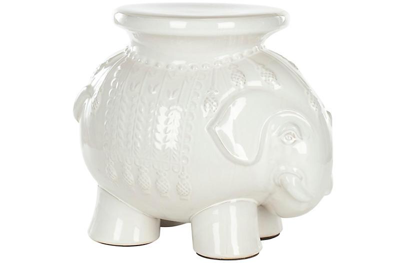 Elephant Garden Stool, White