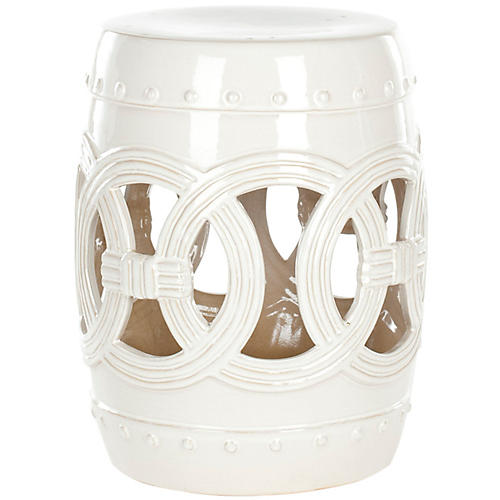 Zoe Ceramic Garden Stool, Off-White