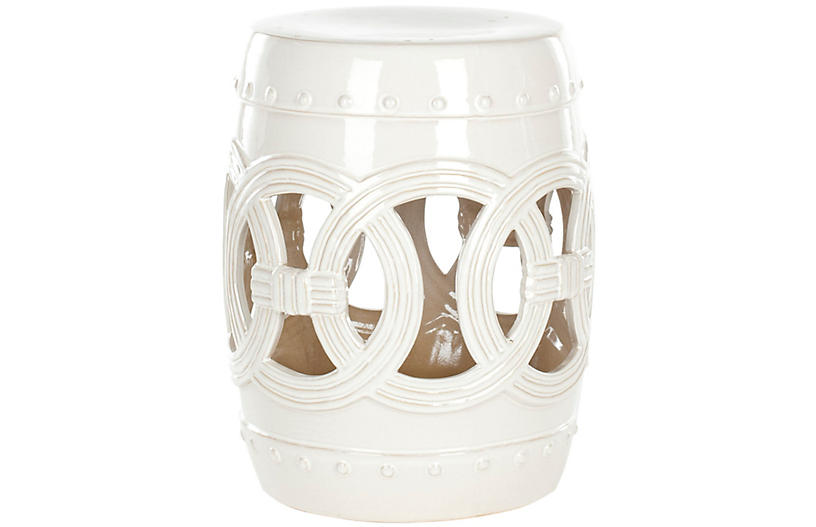Zoe Ceramic Garden Stool, Antique White
