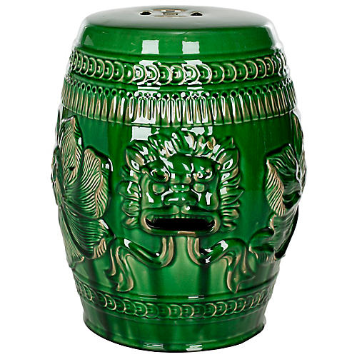 Chinese Lion Garden Stool, Green