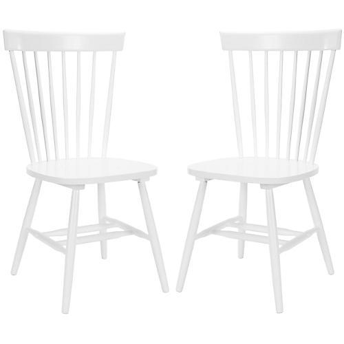 White Abigail Chairs, Pair