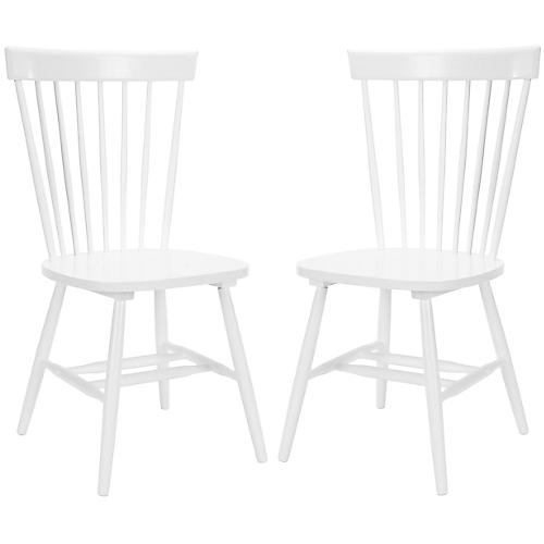 S/2 Abigail Side Chairs, White