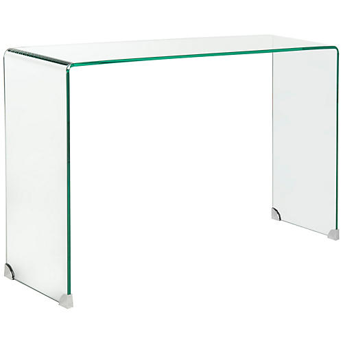 "Amanda 43"" Glass Console, Clear"