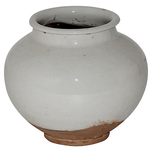 Ceramic Pot, White/Natural