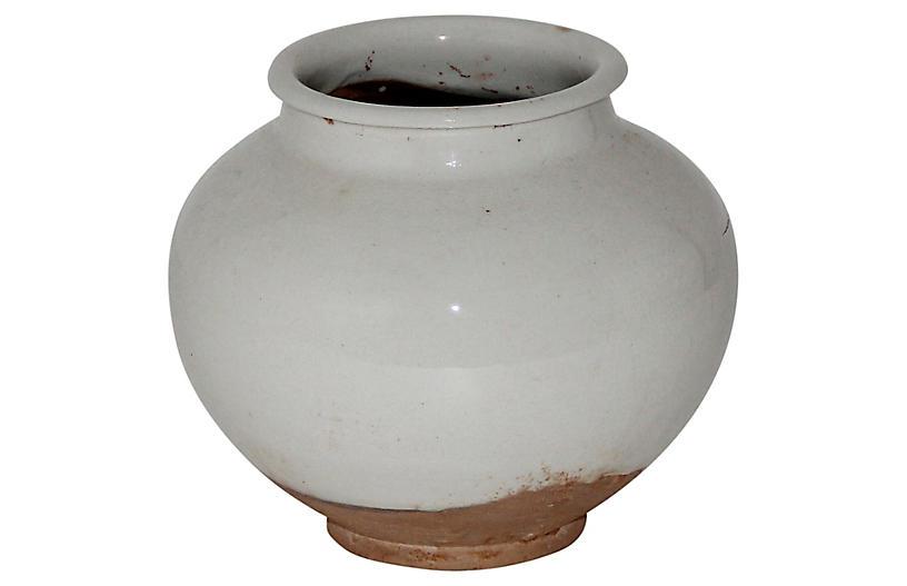 Ceramic Pot, White/Natural