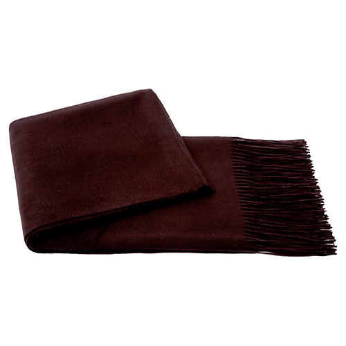 Cashmere-Blend Throw, Chocolate