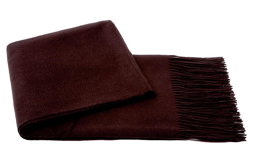 Cashmere-Blend Throw, Chocolate
