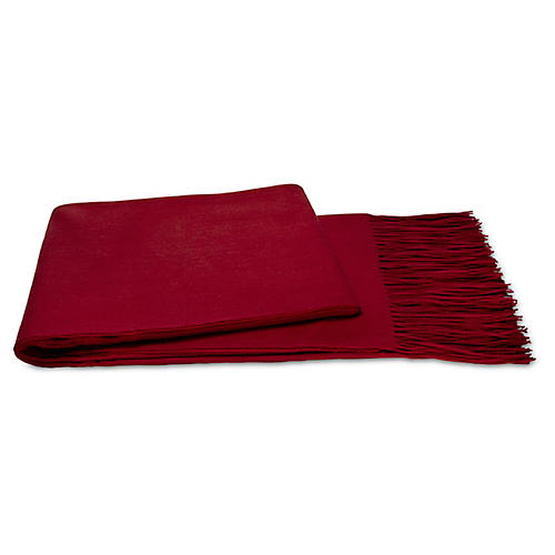 Cashmere-Blend Throw, Merlot