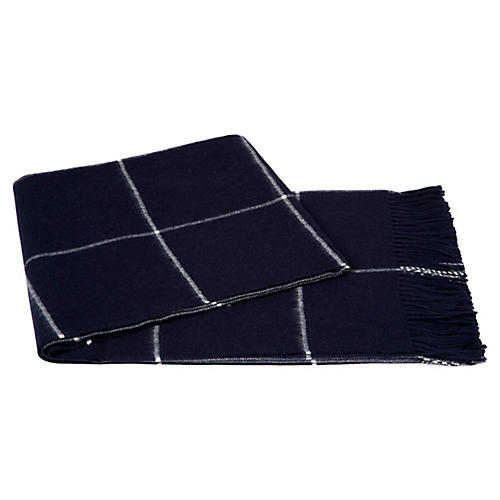 Windowpane Alpaca Throw, Navy
