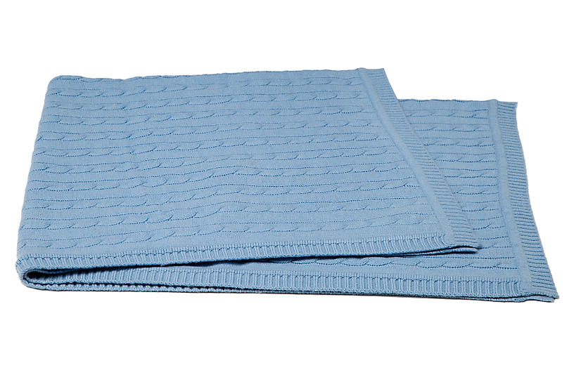 Cable-Knit Cashmere-Blend Baby Blanket, Baby Blue